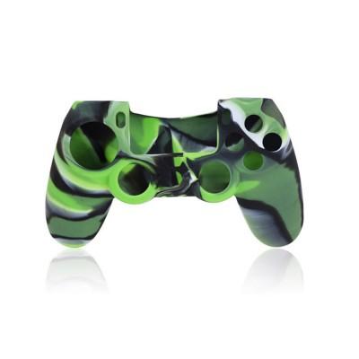 Защитный силиконовый чехол для джойстика (камуфляж, черно-зеленый) (PS4)