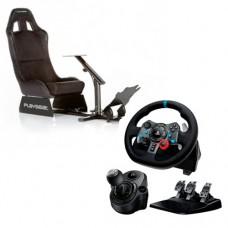 Игровой руль Logitech G29 Driving Force + коробка передач Driving Force Shifter + кресло Playseat Alcantara (Drive Pack)