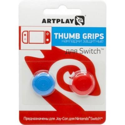 Накладки Artplays Thumb Grips защитные на джойстики геймпада Nintendo Switch (красные/синие)