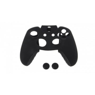 Чехол защитный силиконовый для джойстика (Черный) + Накладки на стики (Черные) (Xbox One)