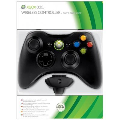 Джойстик беспроводной Wireless Controller (Чёрный) + Аккумулятор + Зарядка (Xbox 360)